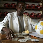Darius Bwalya is a supervisor for leather ball Zambia. He inspects all footballs made by other stitches to ensure they meet the high standard. Alive and Kicking donates made made footballs to orphanages, community schools and other places for vulknerable people. Some footballs are sold in selected supermarkets. Picture/Richard Mulonga/Twenty Ten Project