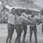 From (L-R) Robert Hammond, Yaw Sam, Dan Oppong, Abdul Karim Razak and Thunder Anas celebrates a goal during the final match of the African Cup of Nations Tournament played in Accra in 1978 on display at the house of Mohammed Polo, 54. © Emmanuel Quaye / Twenty Ten Project / Africa Media Online