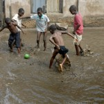 Children play football at the Makoko slum in Lagos, Nigeria. © Emmanuel Quaye / Twenty Ten Project / Africa Media Online
