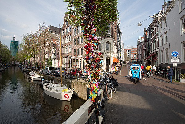 Amsterdam in the Spring. Love locks on the Staalmeestersbrug that crosses the Groenburgwal. I was there for the 2+3D Photography - Practice and Prophecies 2017 conference at the Rijksmuseum