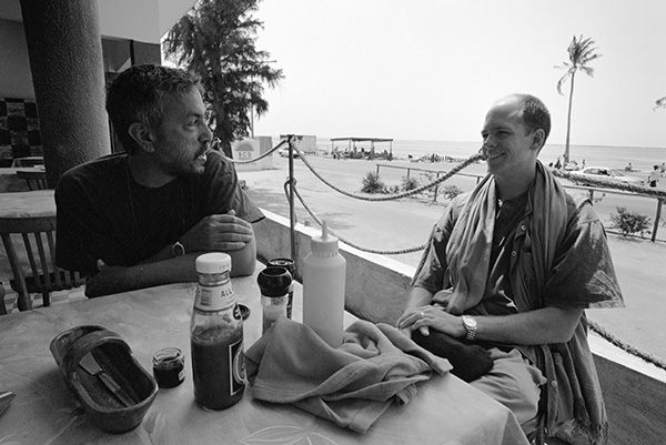 Peter McKenzie (left) and me at Restaurante Costa do Sol in Maputo. We were there for the Foto Festa in 2004. It is likely that Cedric Nunn took this picture with my camera.