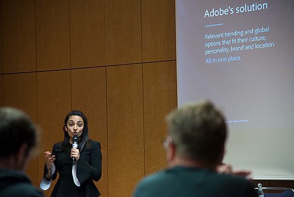 "Shambhavi Kadam, Group Product Manager for Adobe Stock presents during the Innovation day at CEPIC 2018 on ""The Evolution of Content: The Impact of AI on the Creative Process"". The seminar showcased phenomenal innovations in image search that have been developed using Adobe Sensei (Adobe's AI and machine learning framework)."
